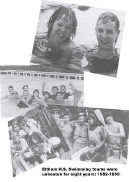 Eltham H.S. Swimming teams were unbeaten for eight years: 1982-1989