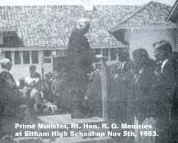 Prime Minister, R. G. Menzies at EHS, Nov 5th 1953